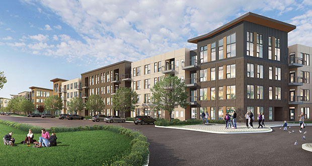 MVE Eagan Ventures, an entity related to the Vikings' ownership, hopes to start construction this spring on this 261-unit apartment building at the Viking Lakes campus in Eagan. (Submitted rendering: BKV Group)