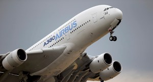 An Airbus A380 takes off June 18, 2015, for its demonstration flight at the Paris Air Show, in Le Bourget airport, north of Paris. The World Trade Organization says the United States can impose tariffs on up to $7.5 billion worth of goods from the European Union as retaliation for illegal subsidies to European plane-maker Airbus — a record award from the trade body. (AP file photo)