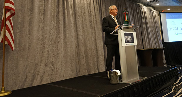 Gov. Tim Walz speaks Wednesday at the 2019 Manufactures' Summit hosted by the Minnesota Chamber. International trade and trade deals were key themes at the event. (Submitted photo: Minnesota Chamber)