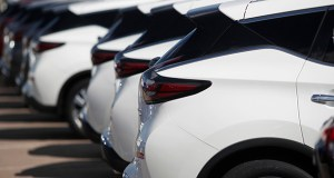 Sales of autos fell 0.9% in September, the Commerce Department said Wednesday, after a solid 1.9% increase in August. In this Aug. 25 photo, unsold Murano sports-utility vehicles sit at a Nissan dealership in Highlands Ranch, Colorado. (AP file photo)