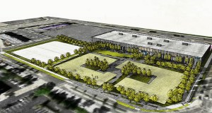 The first phase of Sick's planned Bloomington headquarters would be a building on the northeast corner of the 14-acre site. (Submitted illustration: Sick)