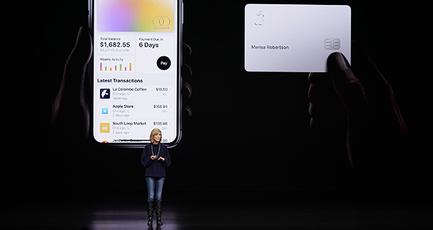 Jennifer Bailey, vice president of Apple Pay, speaks about the Apple Card on March 25 at the Steve Jobs Theater in Cupertino, California. A spokeswoman for the New York Department of Financial Services confirmed Saturday that they are investigating Goldman Sachs for possible sex discrimination in the way it sets credit limits for the Apple Card. (AP file photo)