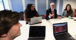 Britain's Labour Party leader, Jeremy Corbyn, talks with students at Lancaster University regarding the party's plans to deliver free broadband during campaign stop Friday in Lancaster, England. (AP photo: PA)