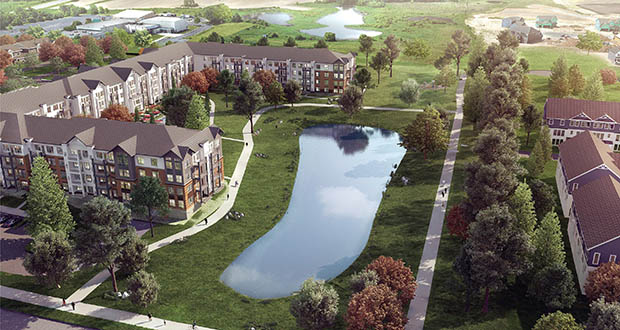 An apartment building set across a pond from three townhome buildings at the southwest quadrant of Radio Drive and Hargis Parkway planned by Plymouth-based Dominium would offer affordable rental units. (Submitted illustration: BKV Group)