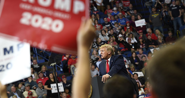 Presidential election years can be tough on small and mid-sized businesses — whether customers are consumers or other companies, they tend to cut their spending when they're uncertain about what lies ahead. In this Nov. 4 photo, President Donald Trump speaks during a campaign rally in Lexington, Kentucky. (AP file photo)