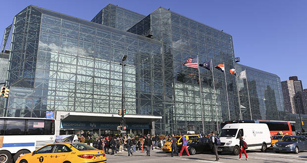 This Oct. 6, 2016, photo shows an exterior of the Jacob K. Javits Convention Center during the first day of New York Comic Con. Glass imprinted with patterns was installed during a 2015 renovation of the center reduced bird deaths by 90%, according to NYC Audubon. (AP file photo)