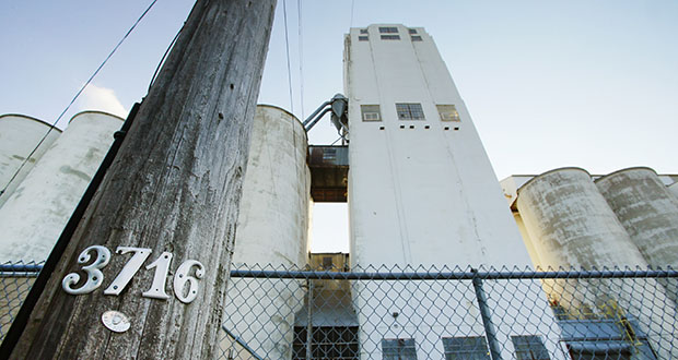 The former Checkerboard grain elevators could soon give way to a 500-unit mixed-income apartment project being developed by Hall Sweeney Properties. (File photo: Bill Klotz)