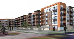 Doran Cos.' 496-unit apartment building at 3800 Silver Lake Rd. NE. will be built in two phases, with completion expected by the end of 2024. (Submitted image: Doran Cos.)