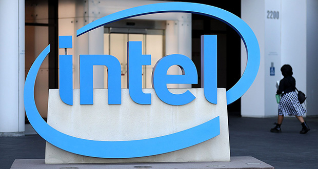Intel on Tuesday released the results of a new report it sent to the U.S. Equal Employment Opportunity Commission that gives unprecedented pay, race and gender data for about 51,000 U.S. workers. This April 26, 2018, photo shows the Intel logo outside Intel's headquarters in Santa Clara, California. (Bloomberg file photo)