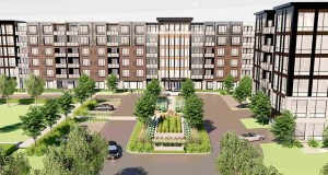 The 55-plus age-restricted apartments United Properties is proposing for 801 Carlson Parkway in Minnetonka would be part of a two-phase development that would take the place of an earlier office tower proposal from another development group. (Submitted illustration: United Properties)