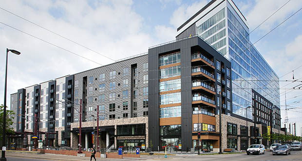 The Link, a mixed-use development at 2929 University Ave. SE in Minneapolis, is among projects at the heart of the 370-acre Towerside Innovation District. The area — which encompasses much of Prospect Park along University Avenue and Highway 280 and three Green Line stations — is being positioned by the initiative to attract more housing and business. (File photo: Bill Klotz)