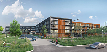 Where once stood the long-shuttered Island Station power plant, Chicago-based Stoneleigh Cos. is building 242 market-rate apartments along the St. Paul riverfront. (Submitted image: BKV Group)