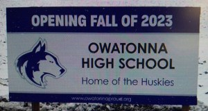 This sign marks the 91.3-acre farm site the Owatonna Public School has bought for a new high school. The school district paid $2 million for the land, which lies on the south edge of town, along Highways 14 and 218. (Submitted photo)