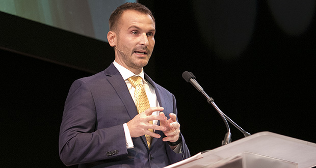 Minneapolis Chamber CEO speaks Monday at the business group's annual meeting at the Guthrie Theater. The Chamber grew from 14 to 22 staff members in 2019 through mergers and expansions of its advocacy work. (Staff photo: Matt M. Johnson)