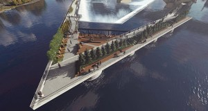 A new proposal, presented Tuesday to the Hennepin County Board by RSP Architects President and CEO David Norback, would feature a promenade over St. Anthony Falls. (Submitted image: RSP)