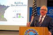 Gov. Tim Walz discusses the public safety projects in his $2 billion public works borrowing proposal for the 2020 legislative session during a news conference Wednesday at the state's Emergency Operations Center in downtown St. Paul. The governor's proposal includes replacing the center. (AP photo: Steve Karnowski)