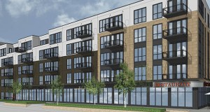 A four-story apartment building Gaughan Properties might build at 2501 Fairview Ave. N. in Roseville could include space for a ground floor restaurant. (Submitted illustration: HA Architecture)