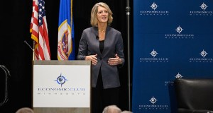 Land O'Lakes CEO Beth Ford's speech was a call to action for civic and corporate leaders to support investments in rural connectivity and related infrastructure. (Submitted photo: Economic Club)