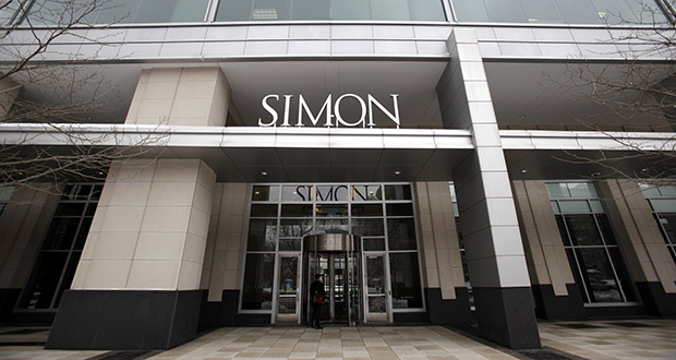 This Feb. 16, 2010 file photo shows the headquarters of the Simon Property Group in downtown Indianapolis. The Simon Property Group will buy mall operator Taubman Realty in a deal valued at around $3.6 billion. (File photo: Danese Kenon/The Indianapolis Star via AP)