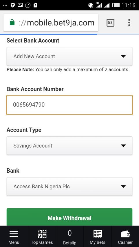 My bet9ja account is not opening account