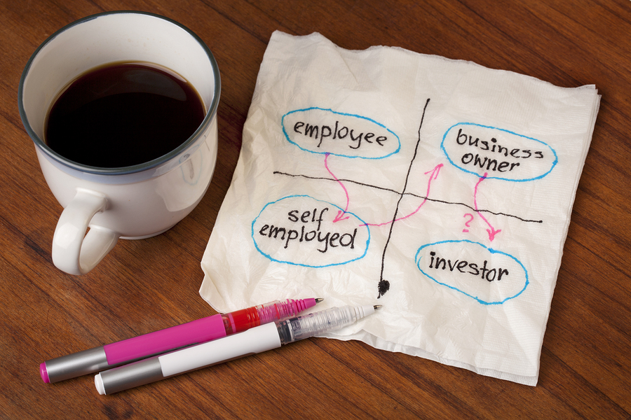 planning career shift from employee to self employed business owner and maybe investor - napkin sketch concept with coffee cup on table