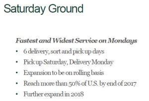 March 17, 2017 Presentation: UPS Saturday Ground