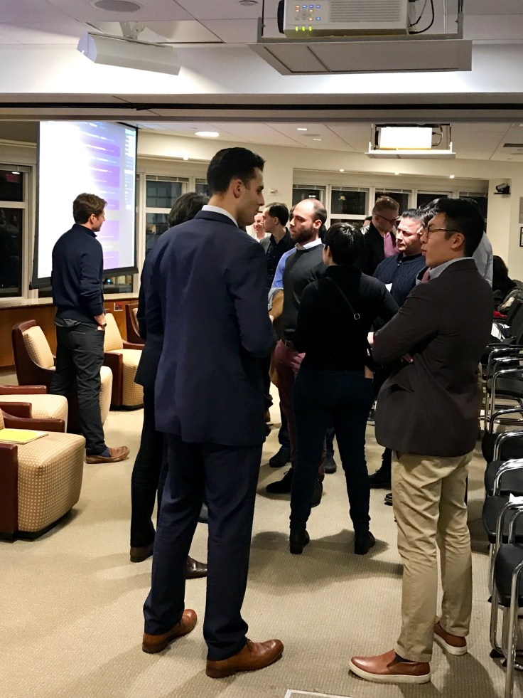 People Networking after the 2019 fintech trends meetup