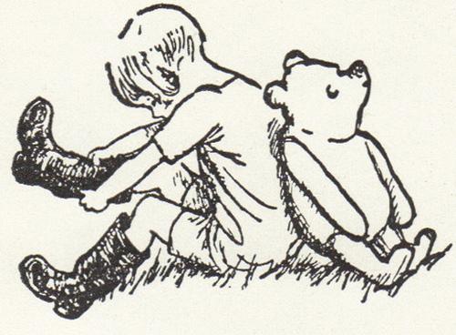 Sketch of Christopher Robin & Pooh Bear sitting back to back