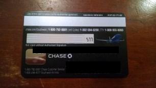 Chase SW PersPrem Card Back