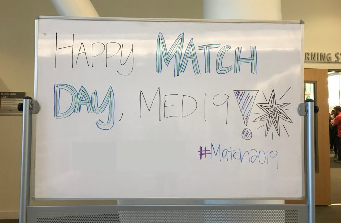 Whiteboard saying Happy Match Day Med19