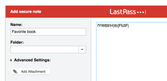 Screenshot of lastpass saving favorite book