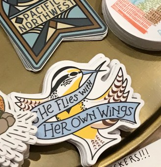 This sticker combines the Oregon state bird the Western Meadowlark, with the hand lettered Oregon state motto,