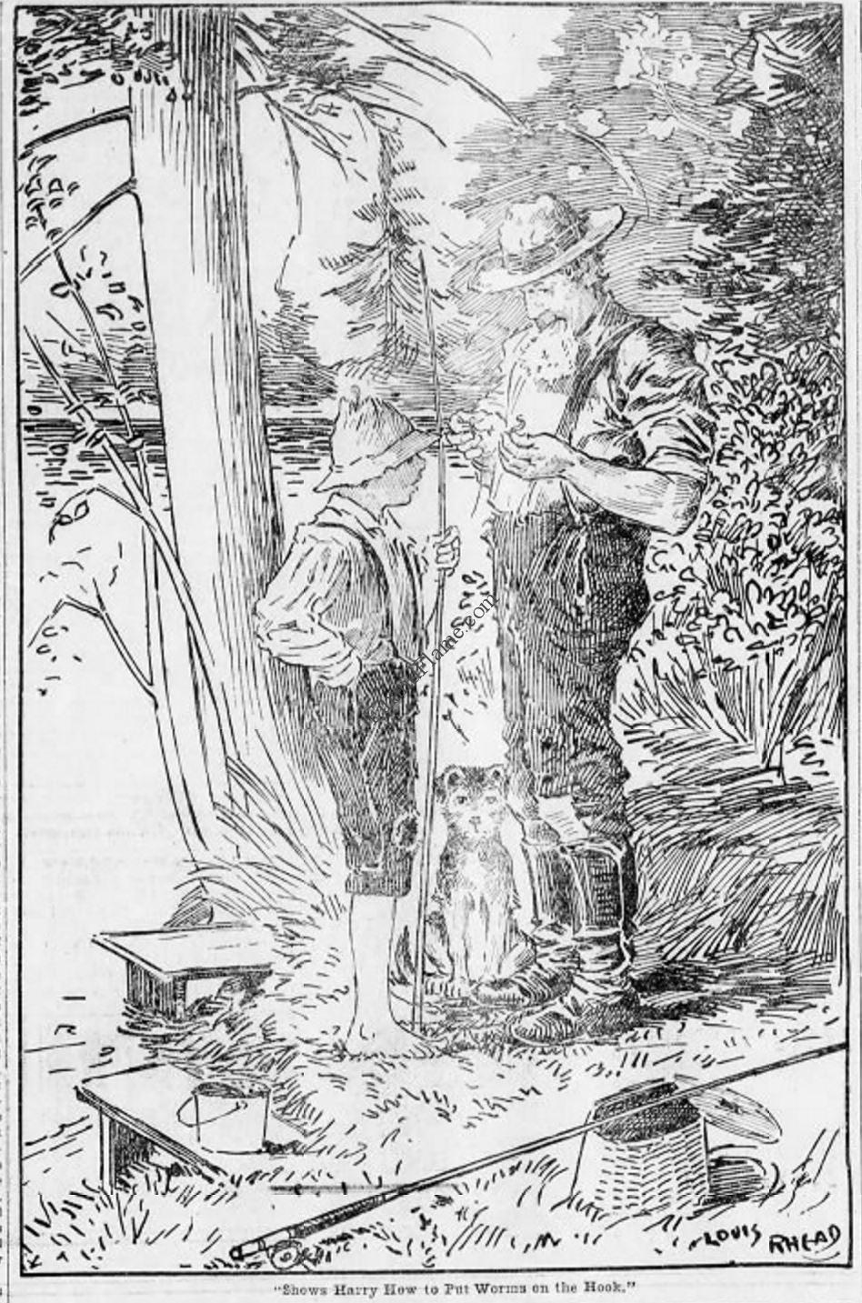 Louis Rhead Putting Worms on a Hook