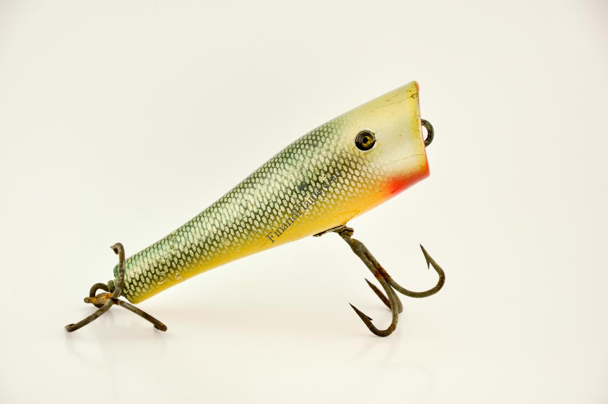 Creek chub husky plunker lure fin and flame antique lures for Collectible fishing lures