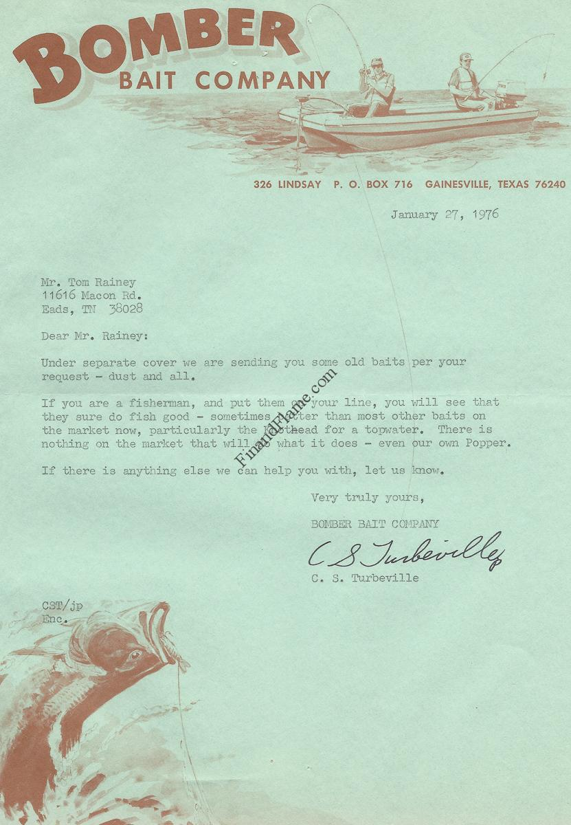Bomber Bait Letter from Inventor and Owner