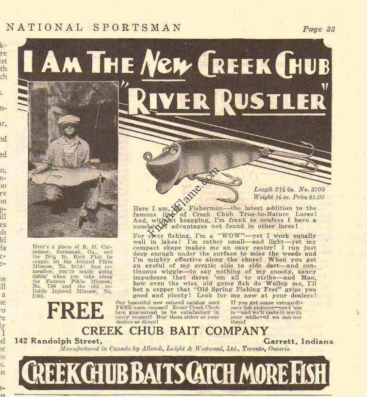 Creek Chub River Rustler Lure Ad