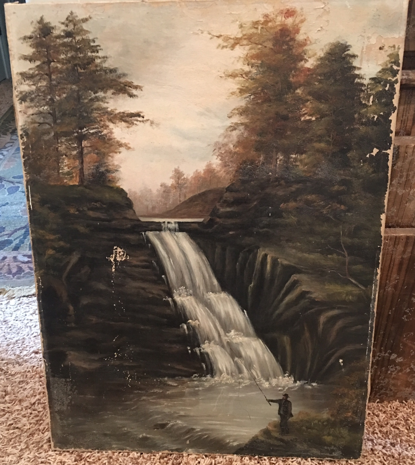 Fly Fishing Oil Canvas Painting