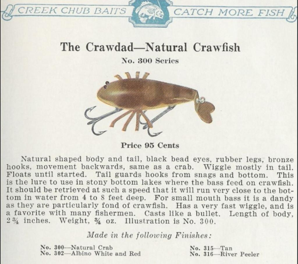 Creek Chub Crawdad Series 300 Lure Catalog Cut