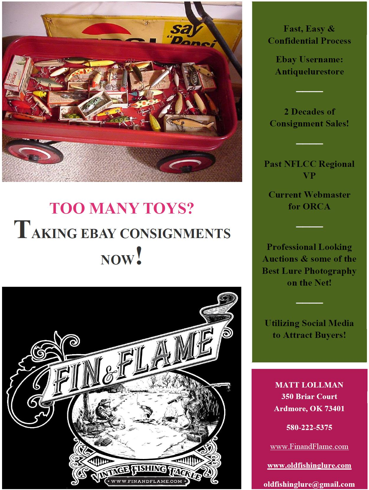 Miscellaneous antique lure makers fin and flame fishing for history fishing tackle consignments nvjuhfo Choice Image