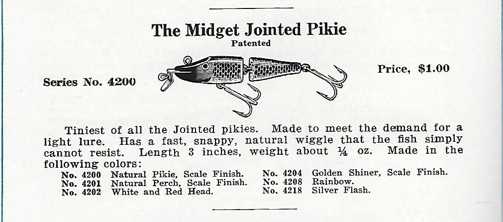 1935 Creek Chub Jointed Midget Pikie Catalog Page