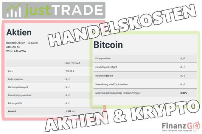 JustTRADE Erfahrung mit dem Angebot kannst Du folgendes kaufen. So sehen die Kosten und Gebühren mit einem Kauf von Bitcoins aus. Ein Beispiel als Gegenüberstellung mit Aktien habe ich Dir auch hier aufgezählt.