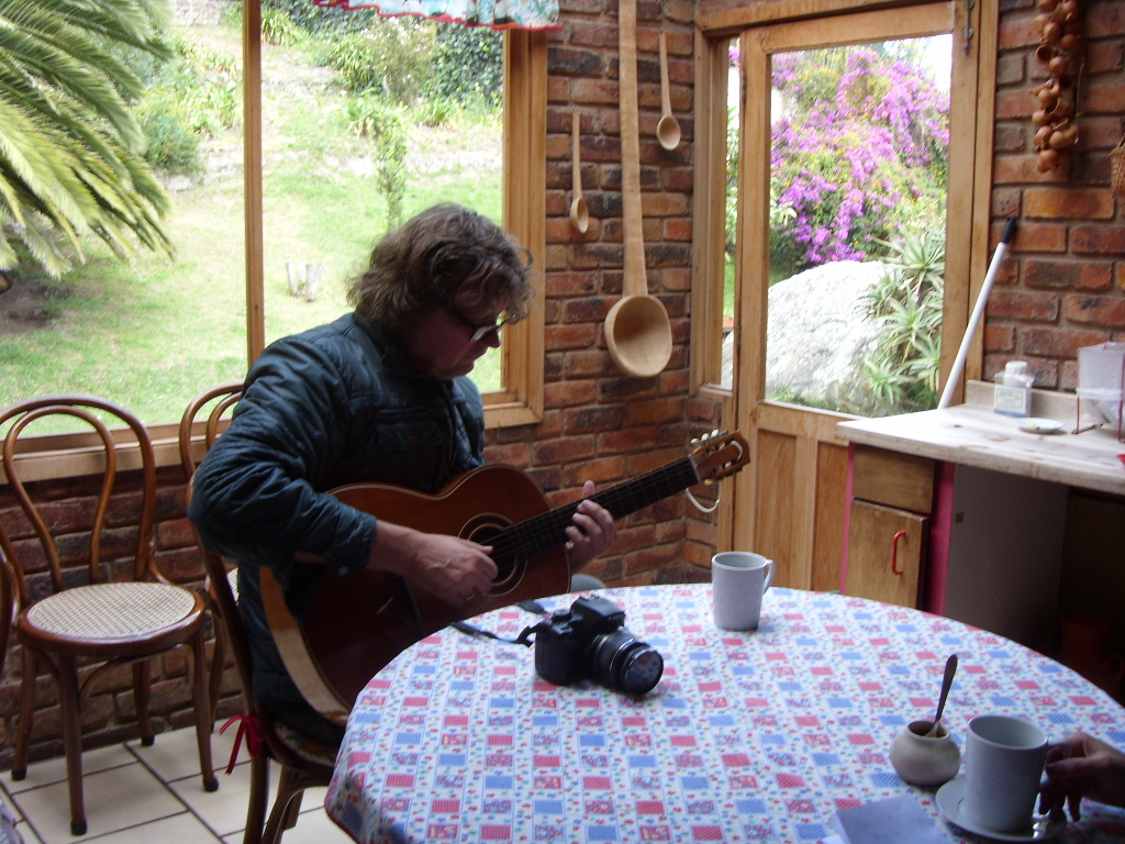 A guest playing guitar in the kitchen