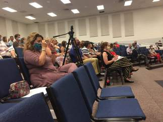 The School Board meeting was moved to Central Academy Middle School in order to allow for social distancing for those who attended the meeting.