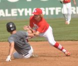 LB's Cody Camper takes the throw at second as Logan Baker attempts to steal.
