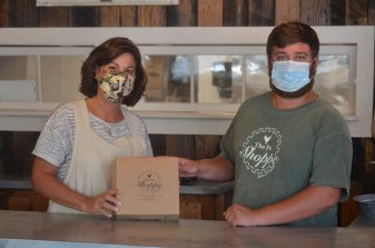 Virginia (left) and Will Barkett are pictured at The Pie Shoppe on August 10.