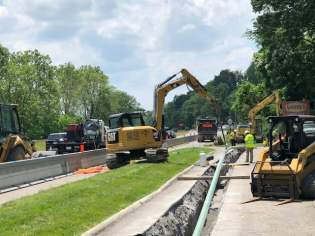 The project involved the laying over two miles of pipe.