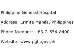 Philippine General Hospital Address Contact Number of ...