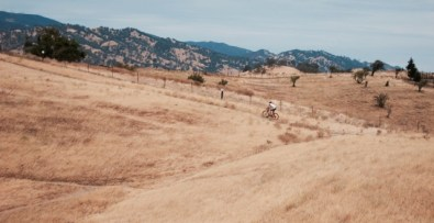 A mountain biker gets his workout in