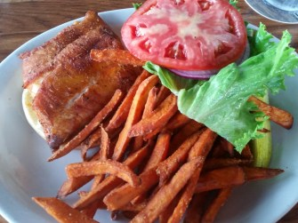 Blacked grouper sandwich with sweet potato fries