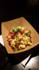 Loaded Mac' n' Cheese with Nuke's Pepper Bacon, Cheddar cheese, and green onions